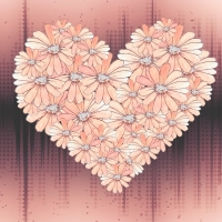 Heart made Of flowers pink