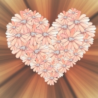 Heart made Of flowers With rays