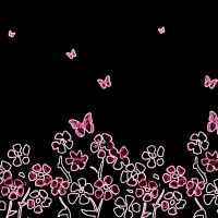 Neon Spring Flowers And Butterfly