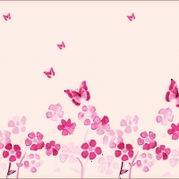 Spring Flowers And Butterfly Abstract