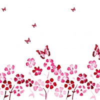 Spring Flowers And Butterfly Red