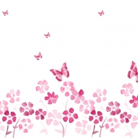 Spring Flowers And Butterfly