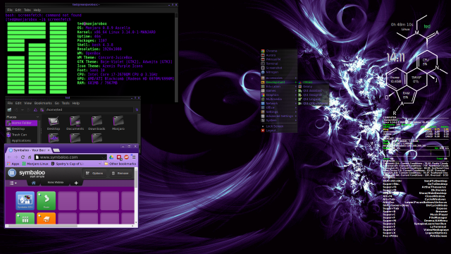 Little bit of a abstract purple wallpaper and other essentials info in the Terminal