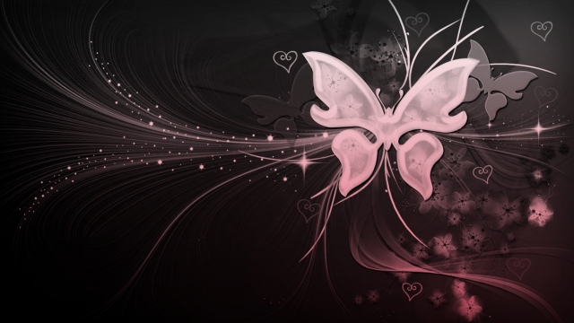 Black, White,pink Butterfly With Hearts